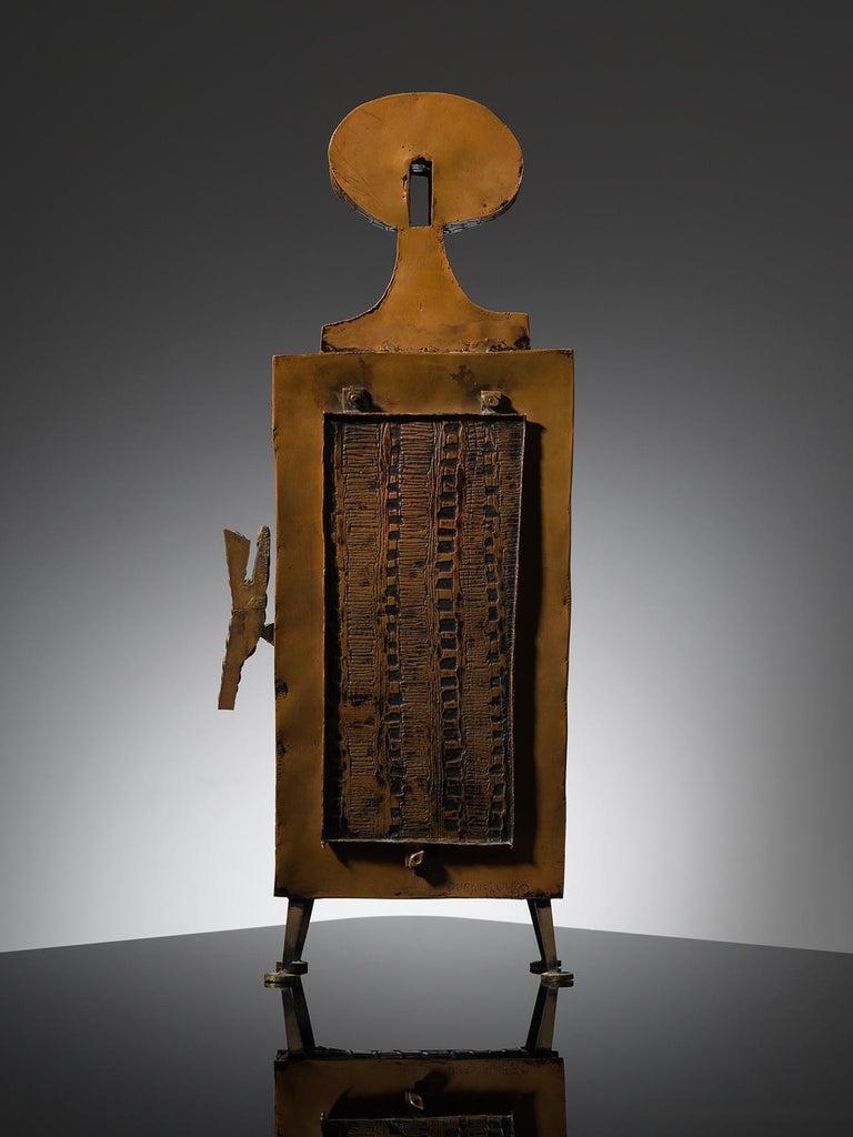 Italian Lorenzo Burchiellaro Figurative Table Clock in Metal
