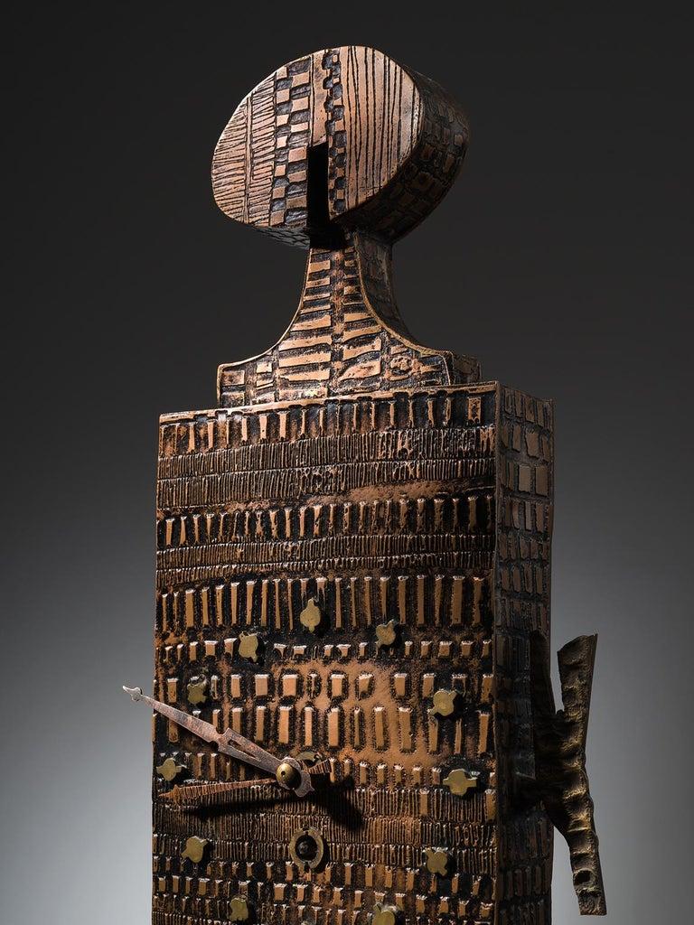 Mid-20th Century Lorenzo Burchiellaro Figurative Table Clock in Metal
