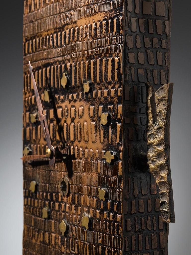 Brass Lorenzo Burchiellaro Figurative Table Clock in Metal