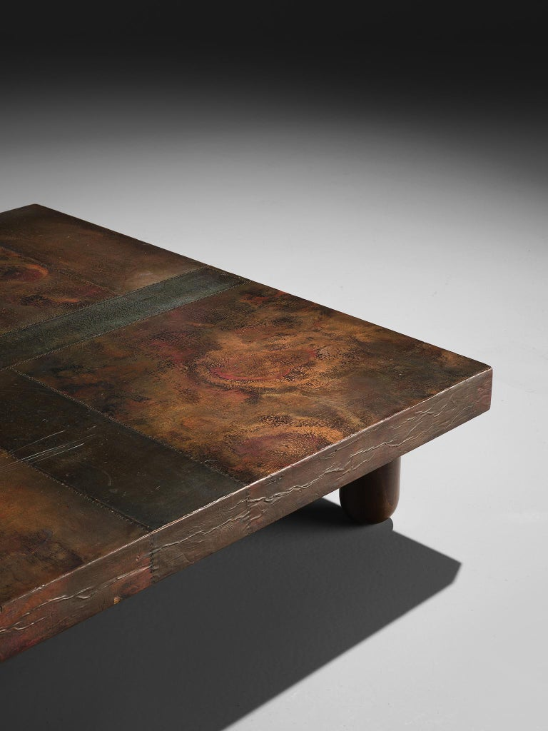 Mid-Century Modern Lorenzo Burchiellaro Handcrafted Coffee Table in Copper For Sale