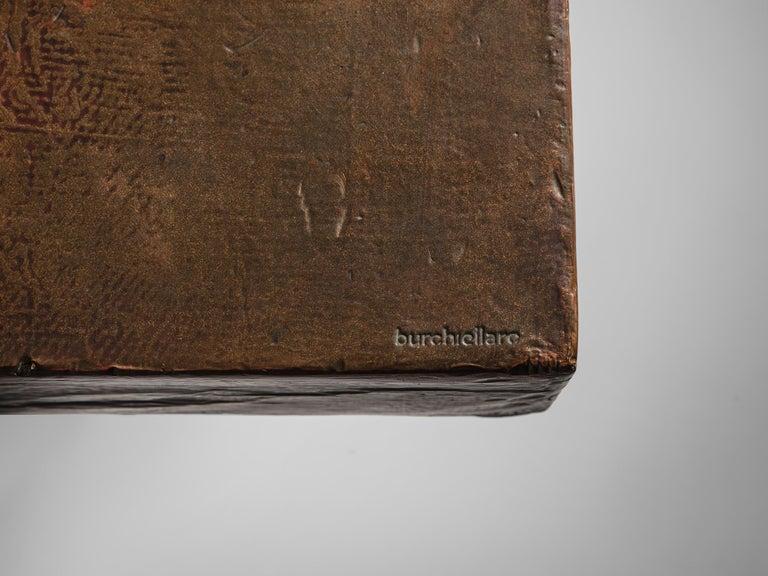 Mid-20th Century Lorenzo Burchiellaro Handcrafted Coffee Table in Copper For Sale