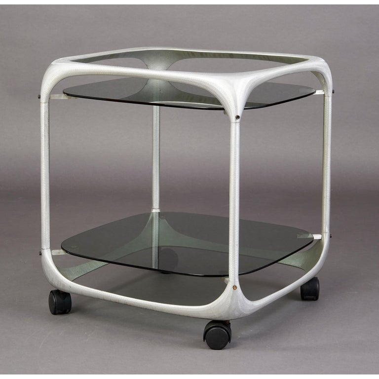 Mid-Century Modern Lorenzo Burchiellaro Rolling Bar Cart, Italy, 1960s For Sale