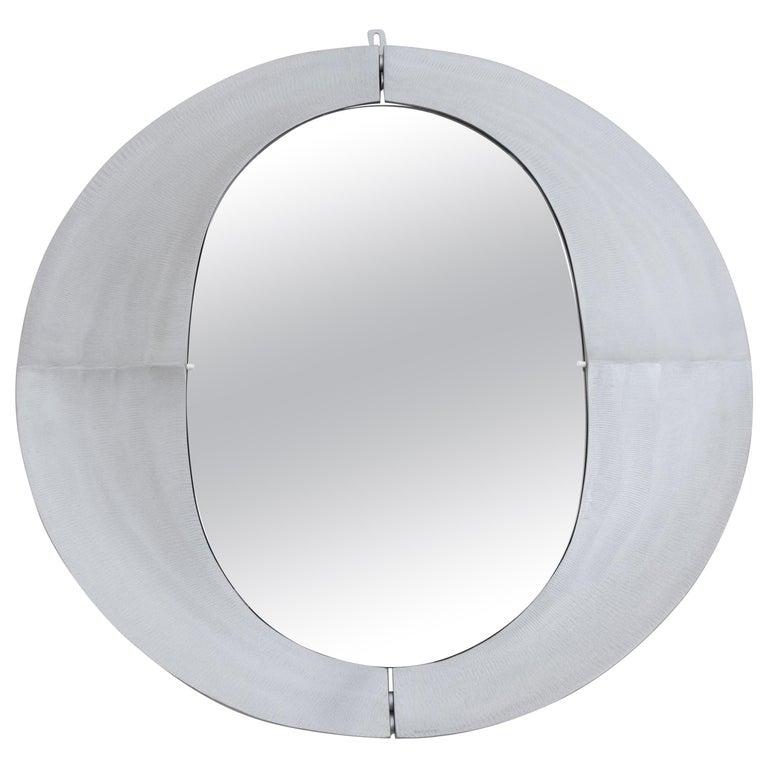 Lorenzo Burchiellaro Round Metal Wall Mirror, Italy, 1970s