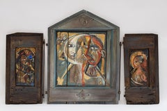 El Trinico - triptych Abstract Figurative Modern Colorfull Oil Wood