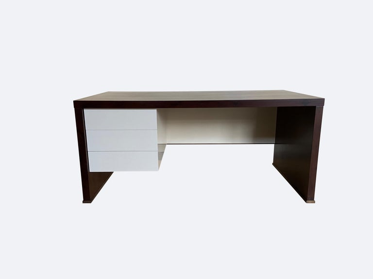 Lorenzo Desk in Argentine Rosewood, Bronze and White Lacquer from Costantini For Sale 3