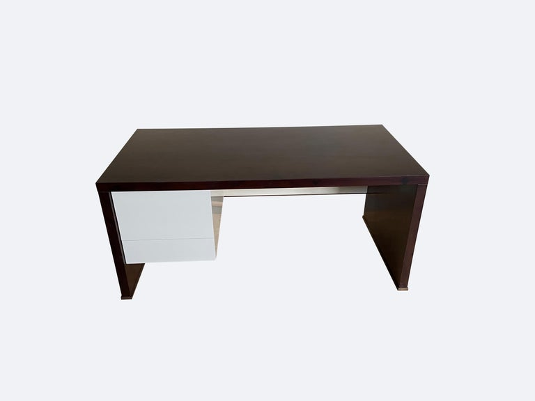 Lorenzo Desk in Argentine Rosewood, Bronze and White Lacquer from Costantini For Sale 4