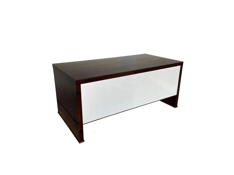 Lorenzo Desk in Argentine Rosewood, Bronze and White Lacquer from Costantini For Sale 5