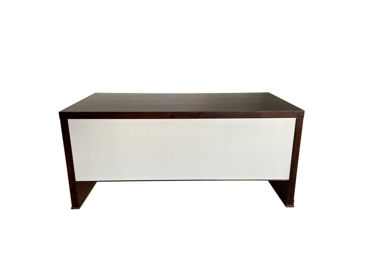 Lorenzo Desk in Argentine Rosewood, Bronze and White Lacquer from Costantini For Sale 7