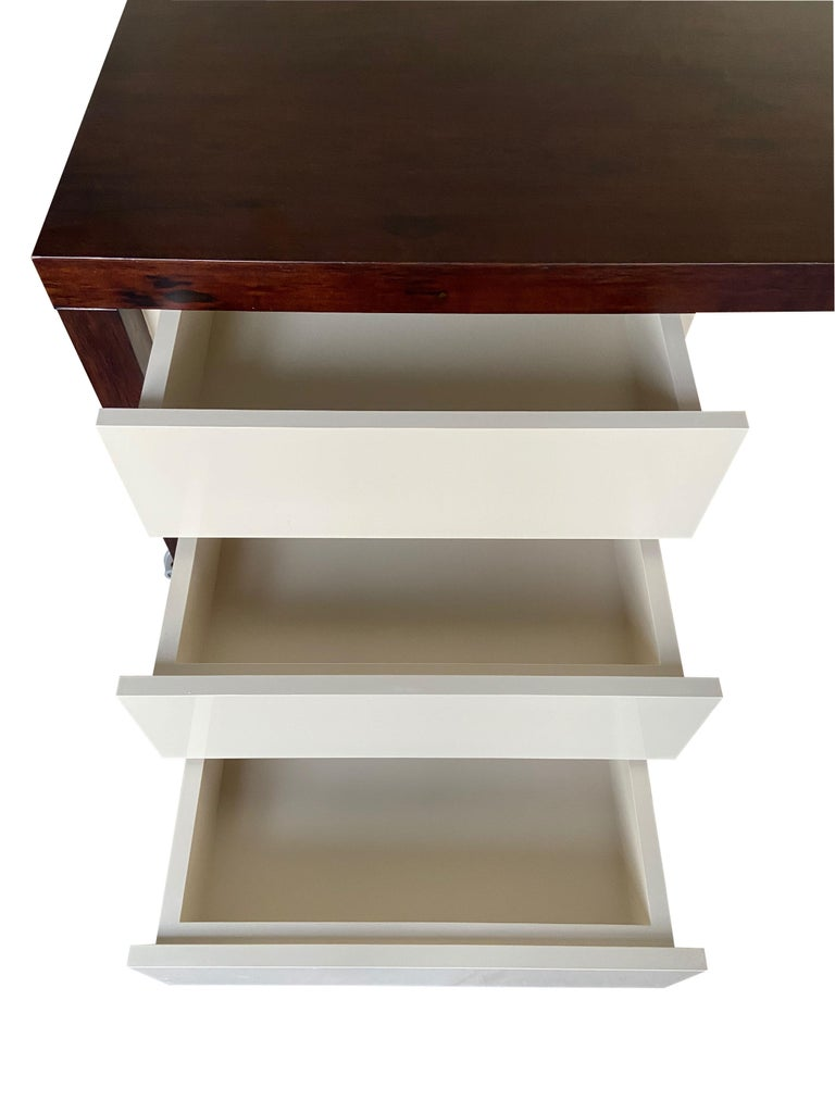 Lorenzo Desk in Argentine Rosewood, Bronze and White Lacquer from Costantini For Sale 8