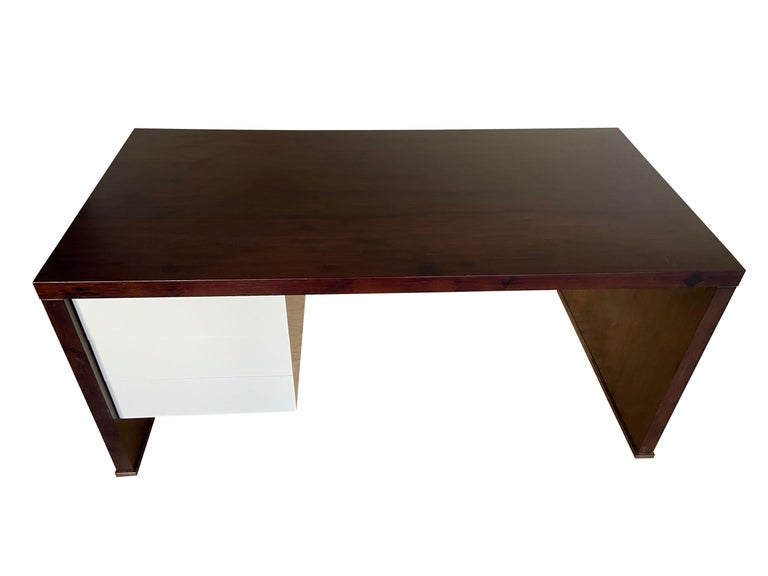 Lorenzo Desk in Argentine Rosewood, Bronze and White Lacquer from Costantini For Sale 9