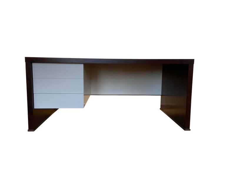 Modern Lorenzo Desk in Argentine Rosewood, Bronze and White Lacquer from Costantini For Sale