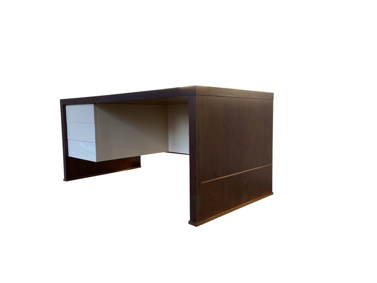Lacquered Lorenzo Desk in Argentine Rosewood, Bronze and White Lacquer from Costantini For Sale