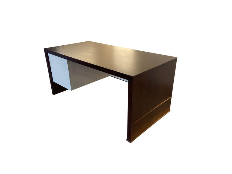 Lorenzo Desk in Argentine Rosewood, Bronze and White Lacquer from Costantini For Sale 2