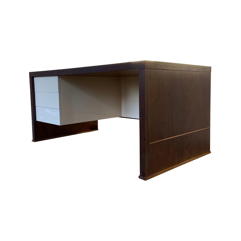 Lorenzo Desk in Argentine Rosewood, Bronze and White Lacquer from Costantini For Sale