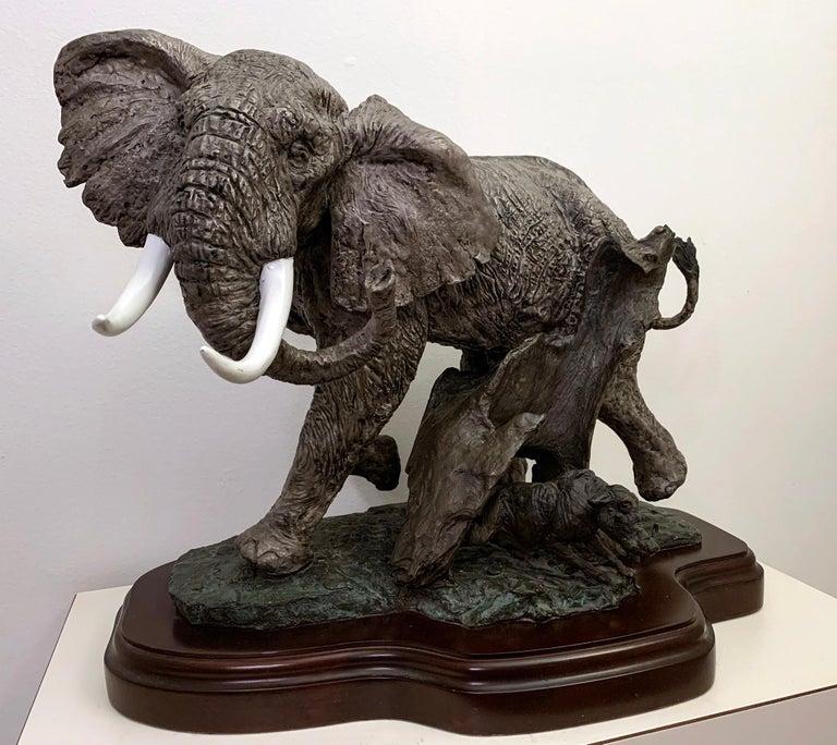 American Lorenzo E. Ghiglieri Bronze Elephant with Warthog For Sale