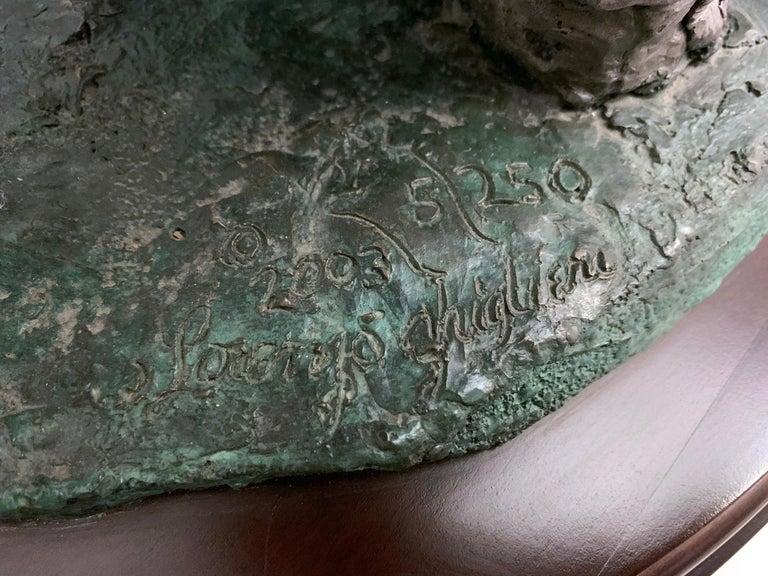 Lorenzo E. Ghiglieri Bronze Elephant with Warthog For Sale 2