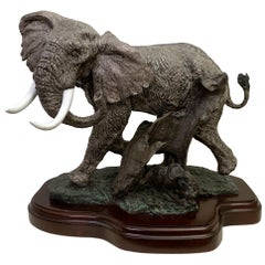 Lorenzo E. Ghiglieri Bronze Elephant with Warthog