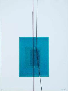 Blue Subject - Original Lithograph by Lorenzo Indrimi - 1970 ca.