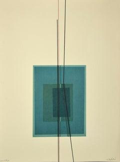 Composition - Original lithograph by Lorenzo Indrimi - 1970