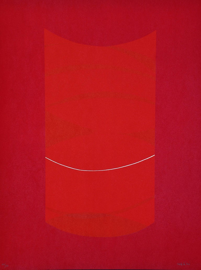 Warm red lithograph Red One realized by Lorenzo Indrimi in the 1970s.  This is an edition of 100 prints, plus a few artist's proofs and 30 pieces in Roman numbers.