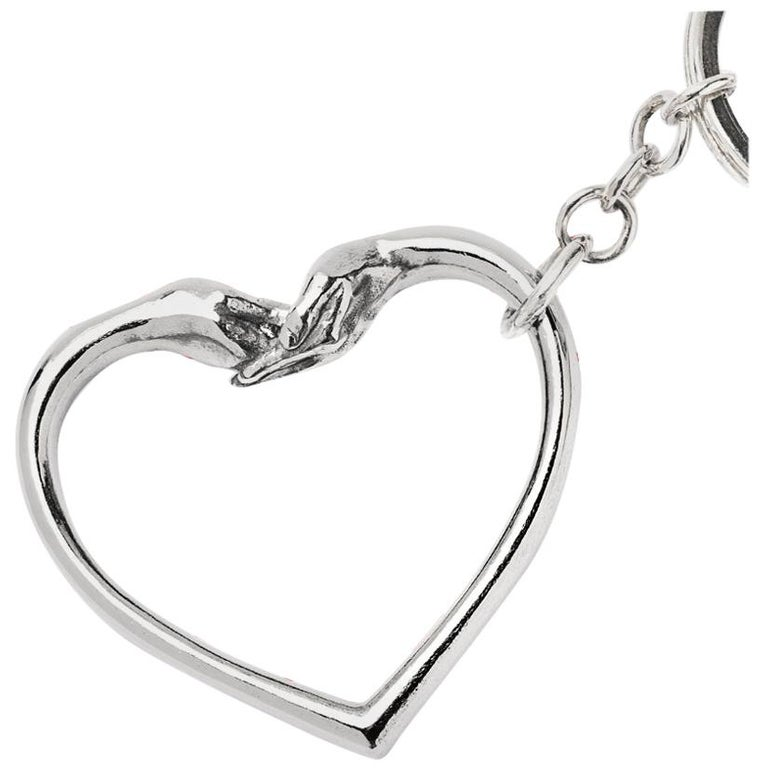 "Lorenzo Quinn ""Give Love"" Silver Key Ring For Sale"