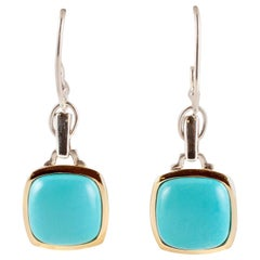 """Lorenzo"" Turquoise Yellow Gold Sterling Silver Earrings"