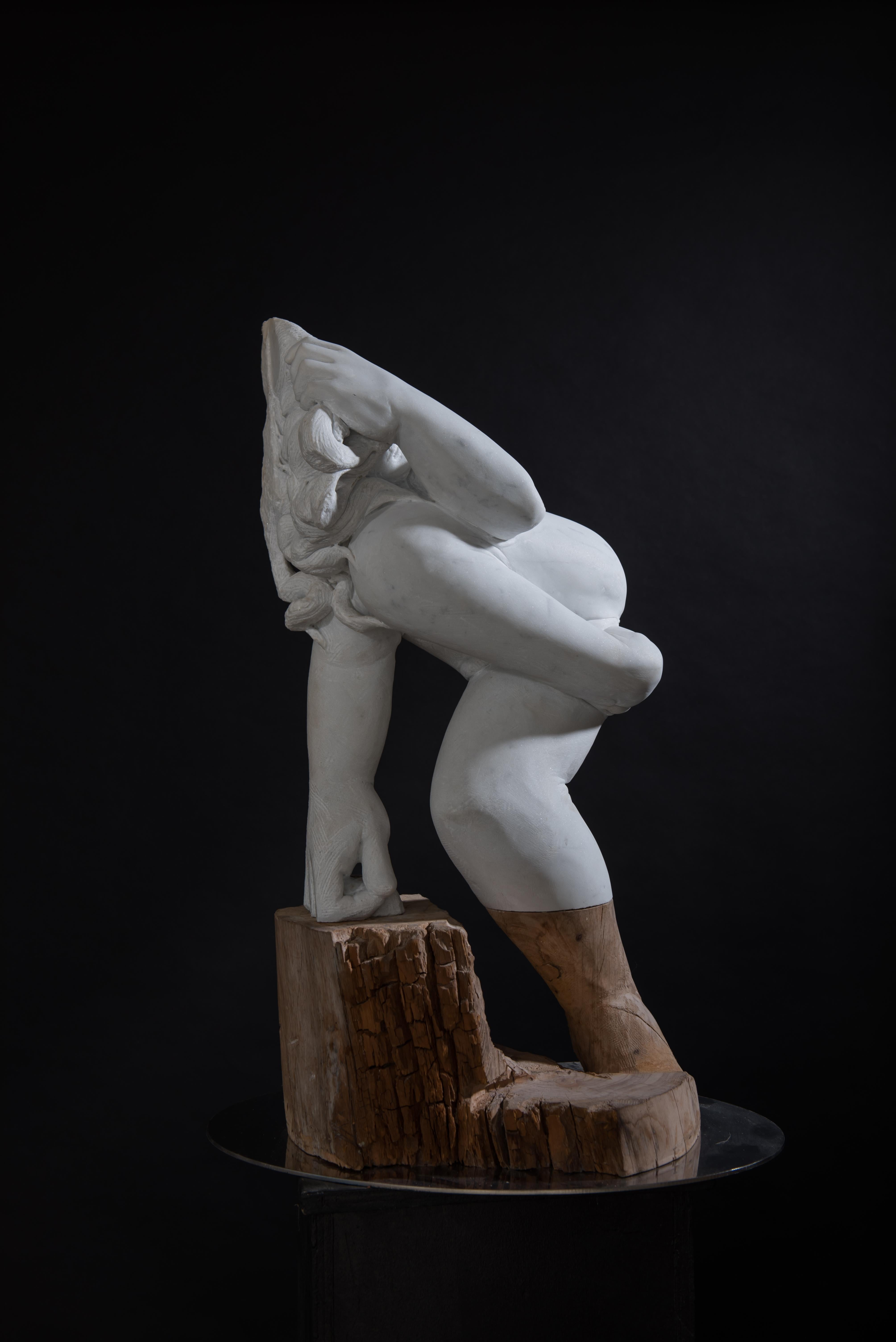 "Donna - Marble / Wood Sculpture ( 30""x 9""x 19"" )"
