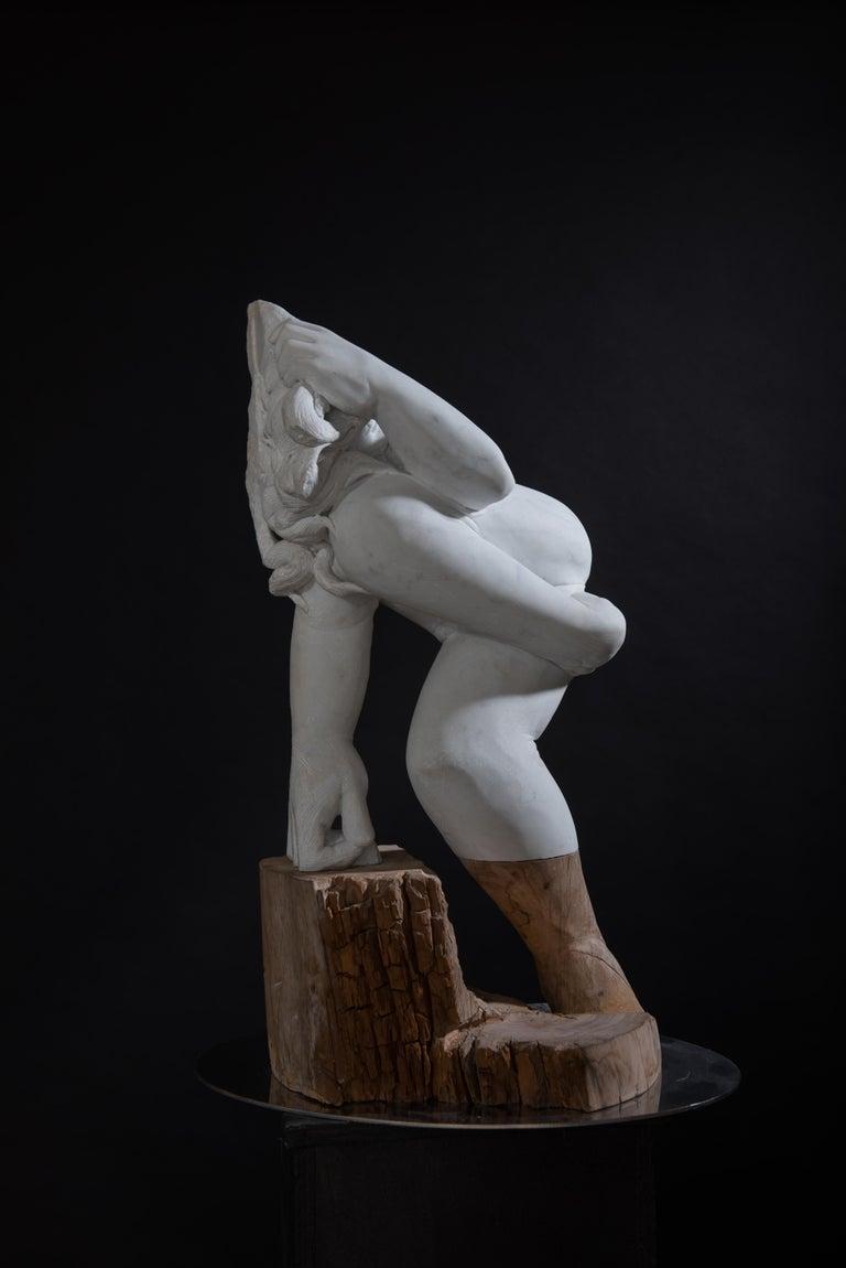 "Lorenzo Vignoli Nude Sculpture - Donna - Marble / Wood Sculpture ( 30""x 9""x 19"" )"