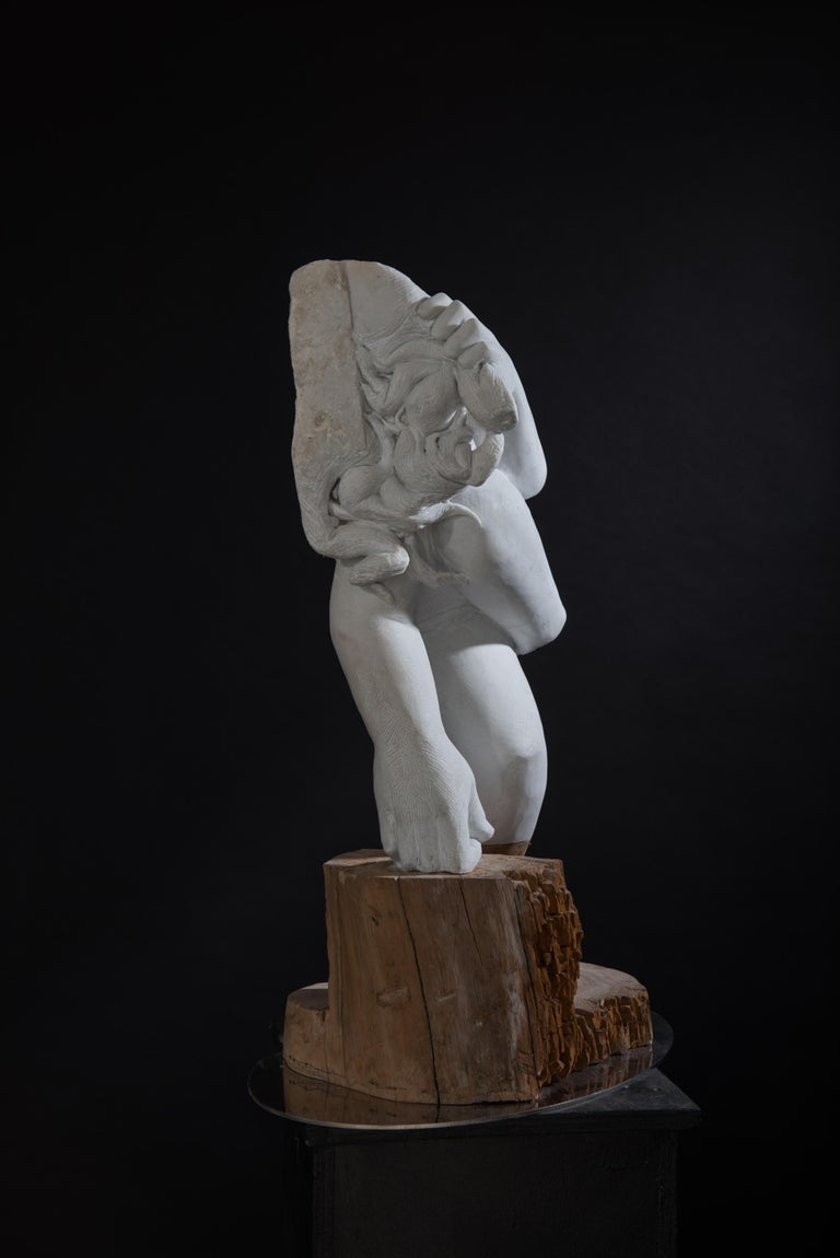 Donna by Lorenzo Vignoli  hand carved marble + oak wood sculpture by contemporary Italian sculptor Lorenzo Vignoli    Sculpture dimensions:  30in W x 9 inch H x 19in D 75cm W x 23cm H x 49cm D 165lb / 75kg  Lorenzo Vignoli studied Painting at