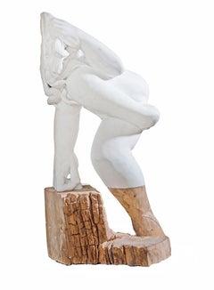 "Donna - hand carved Italian Carrara marble + oak wood sculpture ( 30""x 9""x 19"" )"