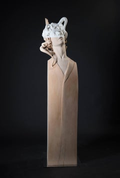 "Lorenzo Vignoli ""La bacca rossa"" Unique piece Marble and wood Contemporary art"