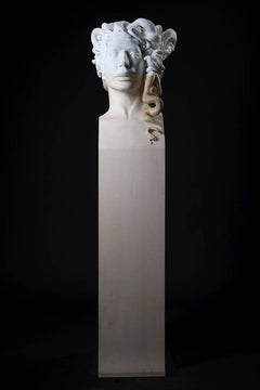 "Lorenzo Vignoli ""Medusa"" Unique piece Marble and wood Contemporary art"