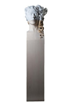 Medusa - statuesque hand carved Carrara marble and Italian linden wood sculpture