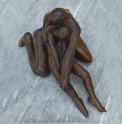 Pieta III - contemporary tabletop figurative bronze sculpture
