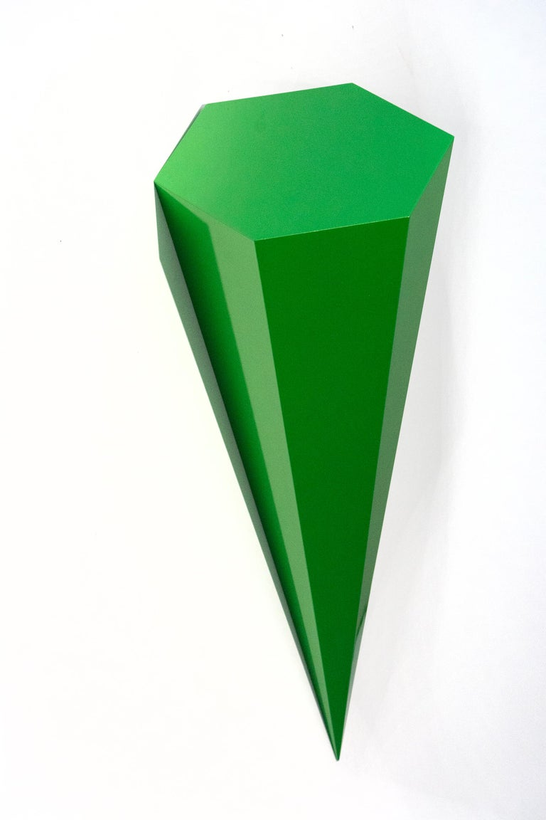 On Point - bright, glossy, green, smooth surfaced, abstract, wall sculpture - Sculpture by Lori Cozen-Geller