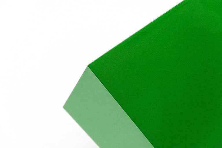 On Point - bright, glossy, green, smooth surfaced, abstract, wall sculpture For Sale 1