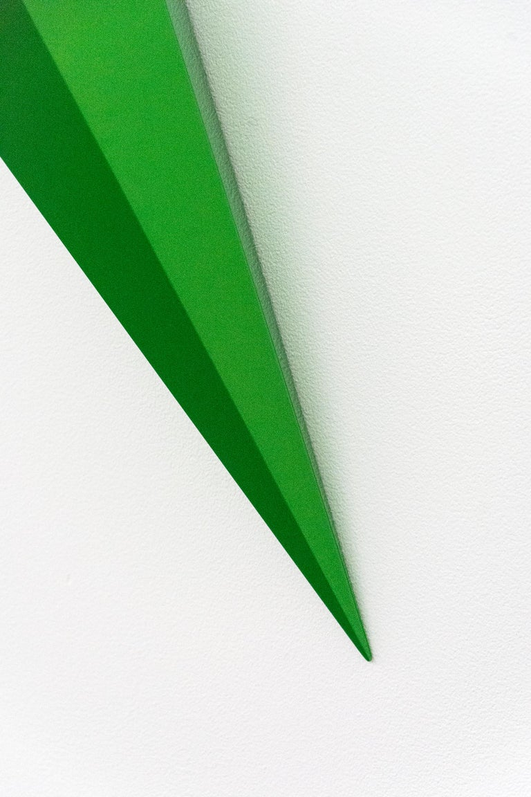 On Point - bright, glossy, green, smooth surfaced, abstract, wall sculpture For Sale 2