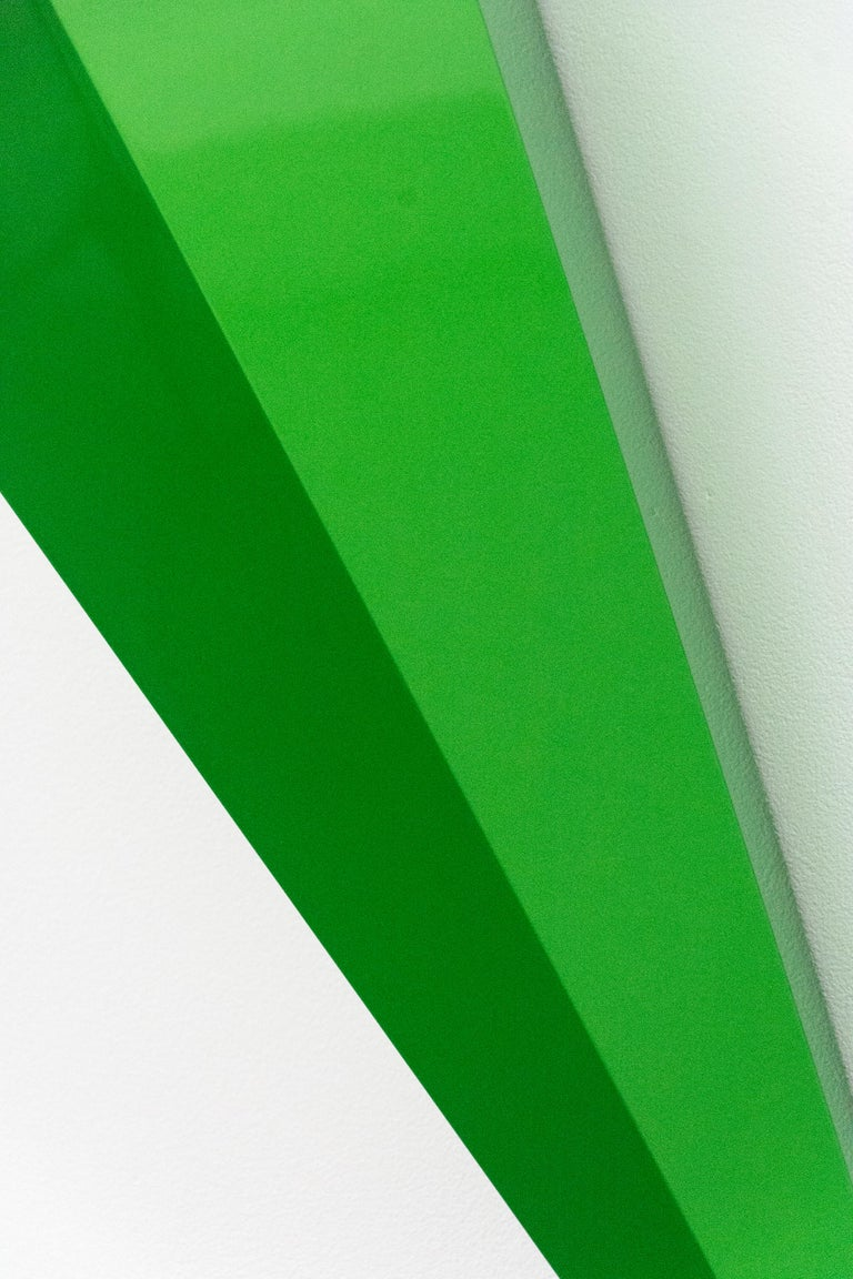 On Point - bright, glossy, green, smooth surfaced, abstract, wall sculpture For Sale 3