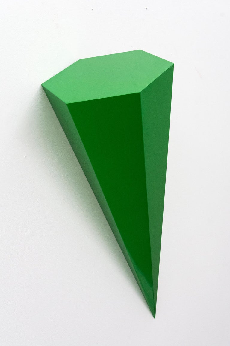 Lori Cozen-Geller Abstract Sculpture - On Point - bright, glossy, green, smooth surfaced, abstract, wall sculpture