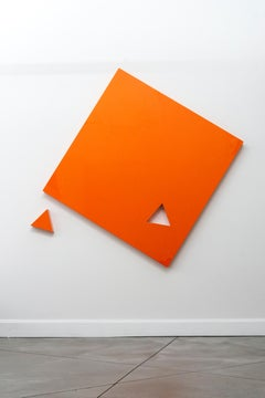 Piece - large, smooth surfaced, bright glossy orange, abstract wall sculpture