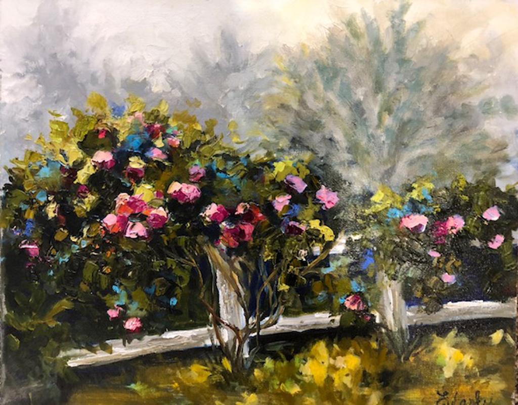 """Lori Eubanks, """"Emerge"""", Pink and Blue Flower Garden Oil Painting on Canvas, 2018"""