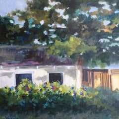 """Lori Eubanks """"Home Sweet Home"""", House and Garden Landscape Oil on Canvas, 2019"""