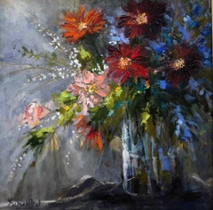 """Lori Eubanks """"Inside Out"""" Floral Bouquet Still Life Oil Painting on Canvas, 2018"""