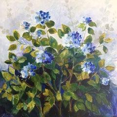"Lori Eubanks, ""Light and Shadows"", Blue Hydrangea Bush Oil on Canvas, 2019"