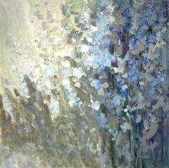 "Lori Eubanks, ""Majestic"", Blue Flower Garden Oil Painting on Canvas, 2020"