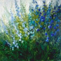 "Lori Eubanks, ""Royal Blooms"", Blue Flower Garden Oil Painting on Canvas, 2020"