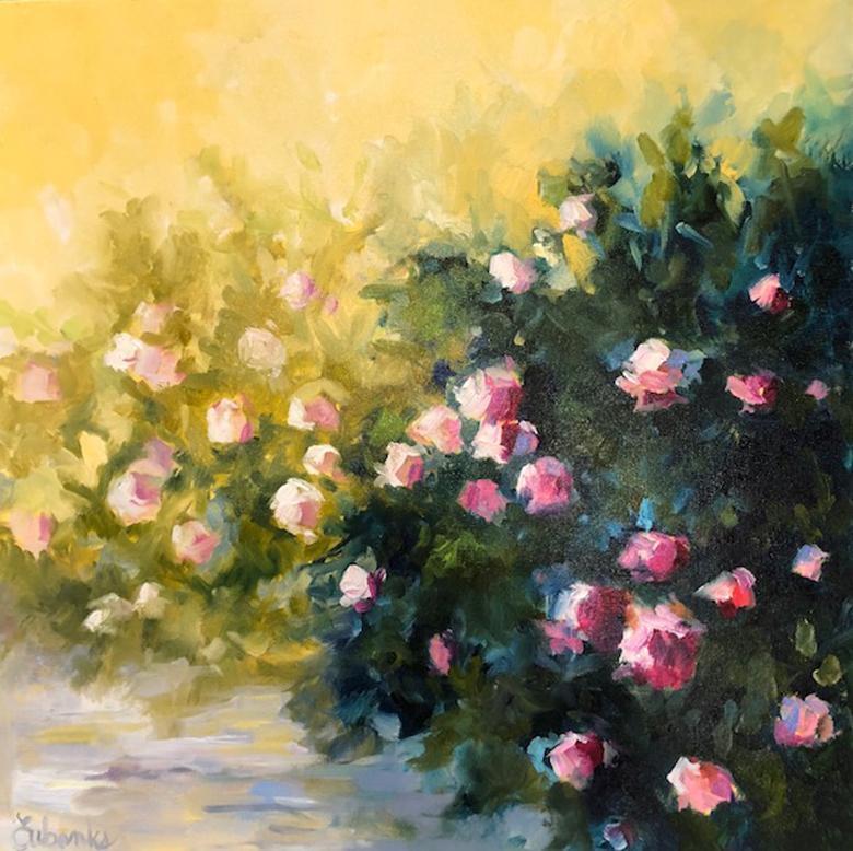"Lori Eubanks, ""Sunny"", Pink Flower Garden Path Oil Painting on Canvas, 2018"