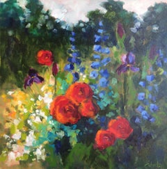 """Lori Eubanks, """"Today is the Day"""", Flower Garden Oil Painting on Canvas, 2019"""