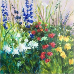 """Lori Eubanks, """"Variety is the Spice of Life"""", Flower Garden Oil on Canvas, 2019"""