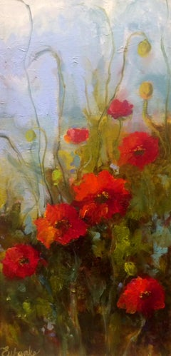 "Lori Eubanks, ""Wild Flowers"", Red Poppy Oil Painting on Canvas, 2018"
